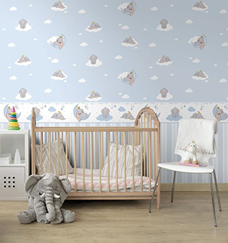 Disney Dumbo In Wallpaper Paper Semigloss Washable Blue Background And White Clouds And Fantastic Elephant Du3020 1 Disney Fantasy Deco Dandino