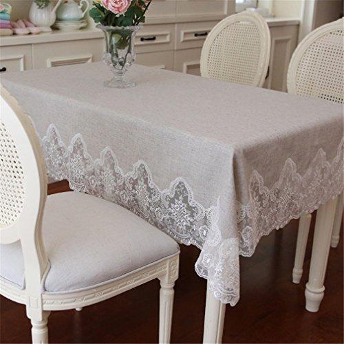 Ethomes Pastoral solide en lin naturel Dentelle nappes Home Housse de table basse, Autre, beige, 43x63 inch(110x160cm)