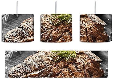 Gebratenes Steak mit Rosmarin schwarz/weiß inkl. Lampenfassung E27, Lampe mit Motivdruck, tolle Deckenlampe, Hängelampe, Pendelleuchte - Durchmesser 30cm - Dekoration mit Licht ideal für Wohnzimmer, Kinderzimmer, Schlafzimmer