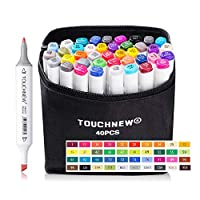 40 Colors Dual Tip Art Marker Pens, Perfect for Painting Coloring Sketching