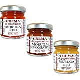 3 Chili Paste MORUGA: 1 Red - 1 Gold - 1 Chocolate EXTREME SCHARF cremes Kit 90g insgesamt