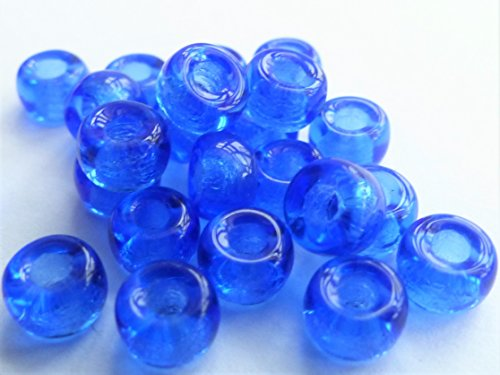 50(PCS) X 6mm großes Loch Ring Spacer Rondelle Pony Crow Tschechische Glasperlen-Saphir Blau-D068 - Rondell Czech Pressed Glass Bead