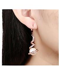 4c5bbd3f414f Amazon.es  Pendientes Oro Rosa - Perla  Joyería