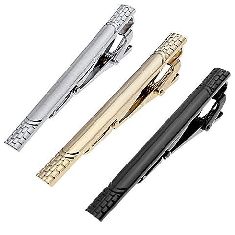 PiercingJ 3x Herren Krawattennadel Krawattenklammer Set Business Hochzeit Tie Clip Silber Gold Schwarz aus Edelstahl mit 1x Geschenk-Box (01)