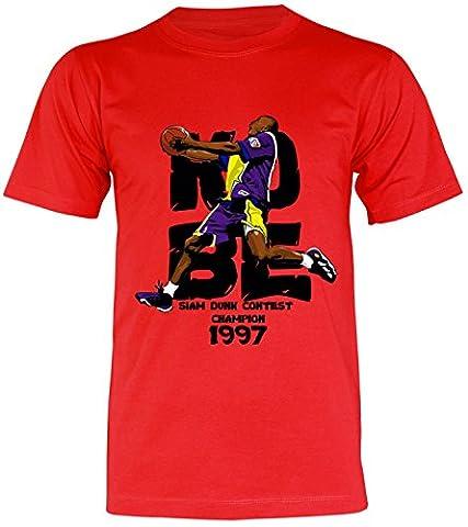 PALLAS Unisex's Kobe Basketball Sport T-Shirt -PA421 (Red , L) (Shin Wrap)