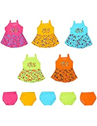 Rebizo New Born Baby Girl Frock Combo Pack (Set of 5) fro 0-3 Months Multicolour