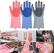 JOHN RICHARD VEU Silicone Magic Cleaning Reusable Dishwashing Gloves with Scrubber for Wash Dish, Kitchen, Bat