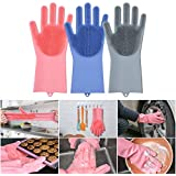 Jolly Gloves Magic Dishwashing Gloves with Scrubber, Silicone Cleaning Reusable Scrub Gloves for Wash Dish,Kitchen, Bathroom(Blue,1 Pair: Right + Left Hand)
