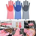 Jolly Gloves Magic Dishwashing Gloves with scrubber, Silicone Cleaning Reusable Scrub Gloves for Wash Dish,Kitchen, Bathroom