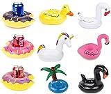 Aufblasbarer Getränk schwimmen,Legends Einhorn Krapfen Palm Flamingo Frucht Love Cartoon Aufblasbares Flaschenhalter Badespielzeug Pool Untersetzer für Bier Getränke Saft (9 Stück-B)