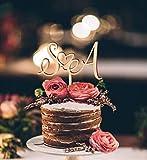 Tortenaufsatz für Hochzeit, personalisierter Tortenaufsatz, Initiale Buchstaben, Tortenaufsatz, Herz Tortenaufsatz, Hochzeitstorte Topper, Gold