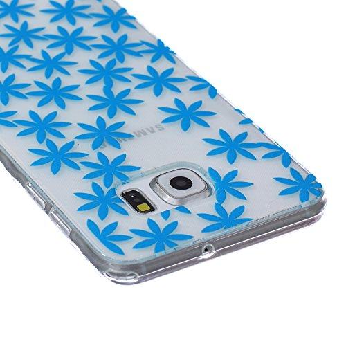 Ekakashop Coque pour Samsung Galaxy S6 Edge Plus, Ultra Slim-Fit Flexible Souple Housse Etui Back Case Cas en Silicone pour Galaxy S6 Edge Plus, Soft Cristal Clair TPU Gel imprimée Couverture Bumper d Bleu Daisy