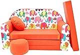 Minisofa Kindersofa Kindercouch Schlafsofa Sofabett Mini Couch mit Kissen und Sitzkissen ORANGE ELEFANTEN