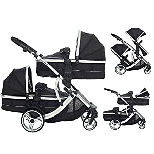 Duellette 21 Combo Twin Tandem Pushchair Baby Newborn carrycots Pram Travel system : 2 Pramette/seat units, 2 FREE Black footmuffs 2 Rain covers, Midnight Black by Kids Kargo   9