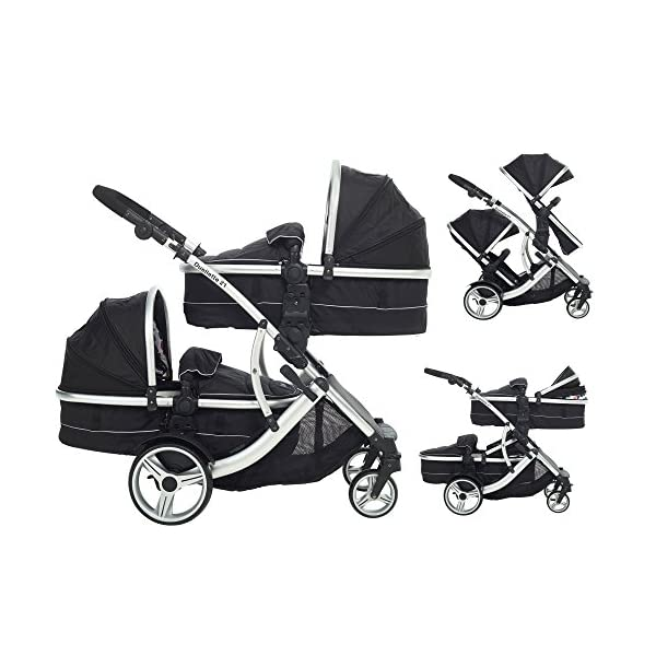 Duellette 21 Combo Twin Tandem Pushchair Baby Newborn carrycots Pram Travel system : 2 Pramette/seat units, 2 FREE Black footmuffs 2 Rain covers, Midnight Black by Kids Kargo Kids Kargo Demo video please see link https://www.youtube.com/watch?v=X_tEcnQ8O8E Compatible with car seats; Kids Kargo, Britax Baby safe or Maxi Cosi adaptors. Versatile. Suitable for Newborn Twins: Both carrycots have mattress and soft lining, which zip off. Remove lining and lid, when baby grows out of carrycot mode. Converts to a full sized seat unit, with 5 point harness. 1