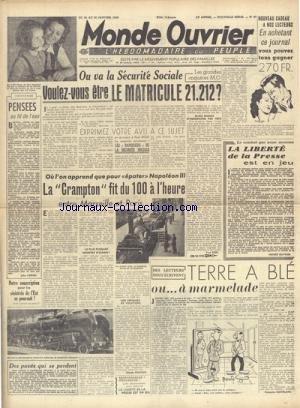 MONDE OUVRIER [No 87] du 24/01/1948