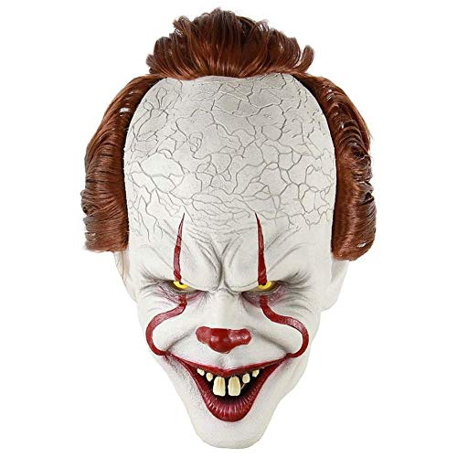 Clown Von Kostüm Stephen King Es - XDDXIAO Clown Maske Stephen King's Es Maske Pennywise Horror Clown Joker Maske Halloween Cosplay Kostüm Requisiten