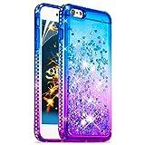 Okzone Coque iPhone 6S/6 Plus[avec Film de Protection écran HD] Brillante Cristal Diamant Liquide 3D Sables Mouvant TPU Gel Silicone Bumper Coques Housse pour Apple iPhone 6S/6 Plus 5,5' (Bleu Violet)