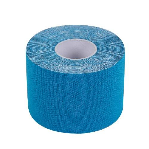 2-TECH Hautfreundliches Kinesiologie Tape 5 cm x 5 Meter in Blau für elastische Tapeverbände