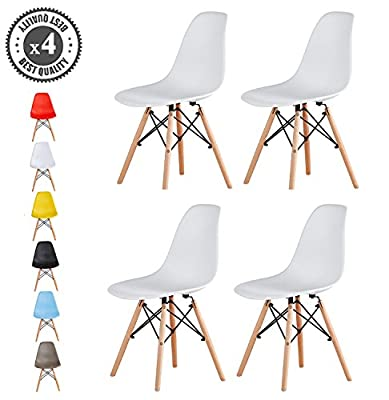 Set of 4 Modern Design Dining Chairs Eames Style Eiffel Retro Lounge Chairs, LIA by MCC - cheap UK light shop.