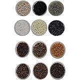Eshoppee 8/0 Seed Beads For Jewelery Making Set Of 12 Colours , 20Gm X 12