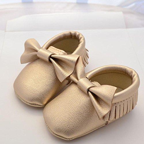 Hunpta Neue jungen Lauflernschuhe Baby Mädchen Bowknot Quasten Schuhe Kleinkind weiche Sohle Turnschuhe Freizeitschuhe (12, Rosa) Gold