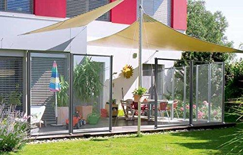 WindFix Windschutz Glasabtrennung Windabweiser Terrasse Glas Gartenzaun Garten Windfang Sichtschutz Zaun Begrenzung ( 308,70 cm)