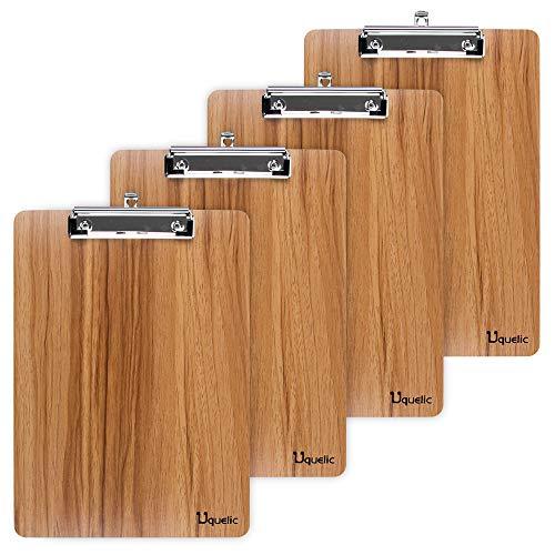 Uquelic Klemmbrett/Schreibbrett/Clipboard A4-4Pcs Klemmbretter A4 Eleganz Luxus Holzmaserung Abgerundete Ecken Zwischenablage mit Robustem Clip und Loch Zum Aufhängen