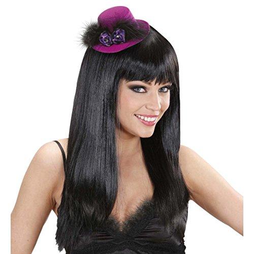 NET TOYS Rosen Mini Zylinder Kleiner Hut Can-Can Minizylinder Saloon Girl Fascinator Lila Burlesque Minihut Tänzerin Kostüm (Saloon Girl Kostüm Spiele)