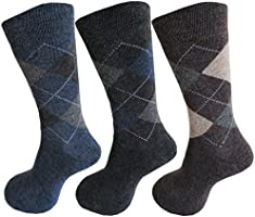 RC. ROYAL CLASS Men's Calf Length Woolen Thick Terry Argyle Socks (Pack of 3 Pairs winter wear socks)