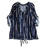 Damen Blusen Frauen Pullover Streifen T-Shirt mit Kordelzug Schnüren Langarm Bluse Top Shirt Hemd Lange Hülsen Tunika Bluse Oberteile,ABsoar