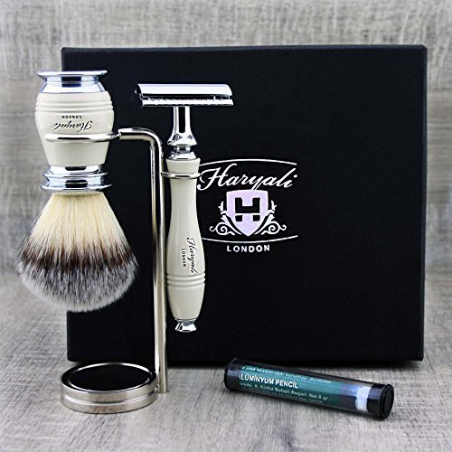 Elfenbein Farbe 3Stück Rasier-Set für Herren. Das Set kommt mit Badger - Klassisches Rasierset