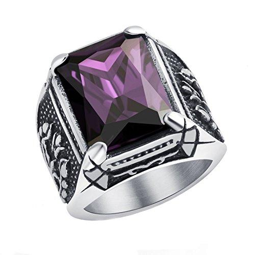 Anillo garra del dragón de los hombres Purple Crytsal Gothic Band para hombres anillo de acero inoxidable joyería de Halloween