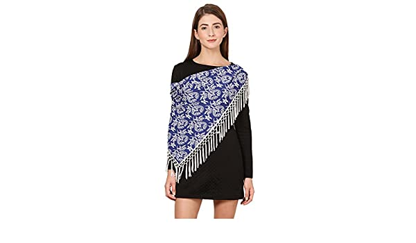Cafsew Colours Womens Stole CG-150-ST,Blue,Poly Crepe