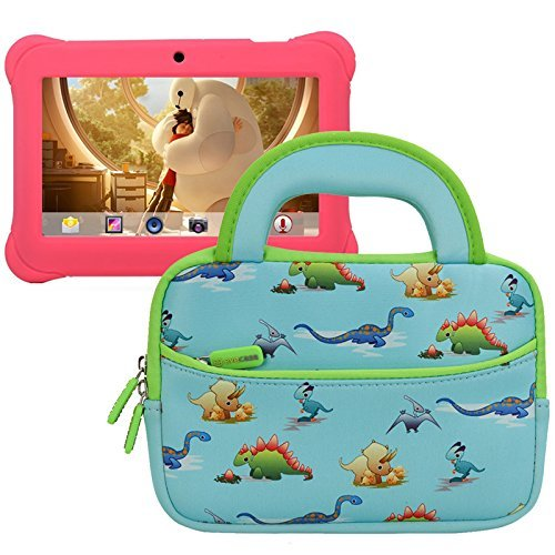 Damen-portfolio (Evecase Alldaymall 17,8cm Android Kinder Tablet Sleeve Fall, niedliche Dinosaurier Motto Neopren Travel mit Slim Tasche w/Dual Griff und Zubehörfach-Blau W/Grün Trim)