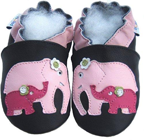 Chaussons en cuir, Tapis, Chaussures jinw Ood, éléphant Bleu - Marron