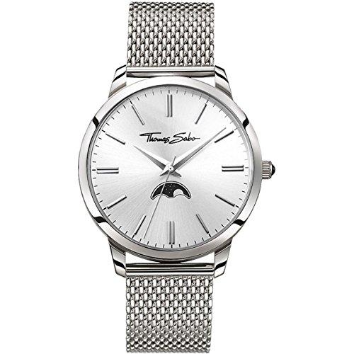 Thomas Sabo Hombre-Reloj para señor Rebel Spirit Moonphase silber Análogo Cuarzo WA0324-201-201-42 mm
