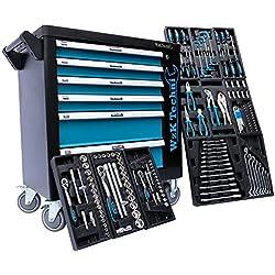 Chariot atelier avec des outils | Chariot à outils Embouts, clés à cliquets, clés et bien d'autres choses encore