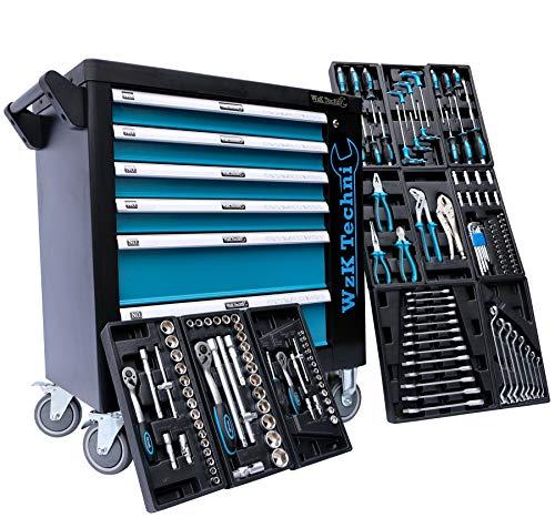 Chariot atelier avec des outils   Chariot à outils Embouts, clés à cliquets, clés et bien d'autres choses encore