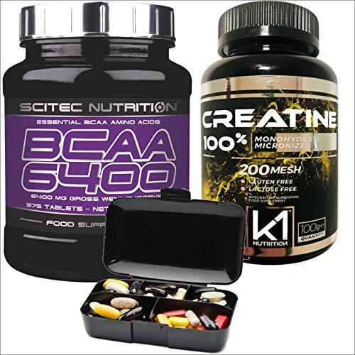 Scitec Nutrition Aminoacidi Ramificati BCAA 6400 375 compresse e Creatina Monoidrato 100 gr. 100% creatine e Portapillole Nutriline