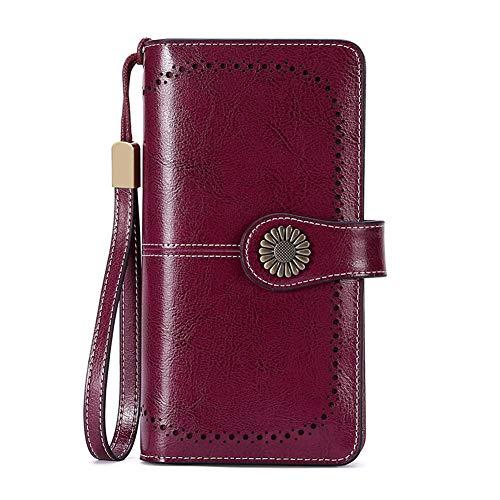 LIEOAGB Brieftasche für Frauen Echtes Leder Geldbörsen Große Kupplungskapazität Rfid-Kartensteckplätze Damen Geldbörsen Strap Blocking-maroon-onesize -