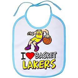 Babero I love basket Lakers - Celeste
