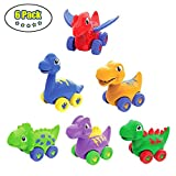 LUKAT Toddler Early Education Toy Dinosaur Cars, Dinosaurs Pull Back Vehicles Dino Friction