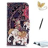 TOUCASA iPhone 6S Handyhülle,iPhone 6 Hülle, Brieftasche Flip etui Tasche 360 Grad Karte Halterung Kartenfächer extra Dünn Klapphülle Leinwand Farbmalerei Art füriPhone 6S/iPhone 6(Elefant)