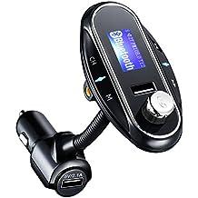 Transmisor FM Bluetooth para Coche, Pictek [2017 Actualizado] Reproductor MP3 Mechero de Coche, Manos Libres Coche, Ranura para Tarjeta de Micro SD, USB Memoria, Puerto de 3.5mm de Entrada de Audio para Móviles, Tablet, MP3, etc