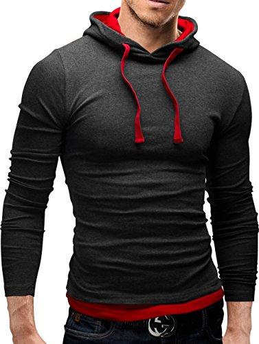 MERISH Hoodie Herren Slim Fit Langarm Shirt Modell 06 Anthrazit / Rot