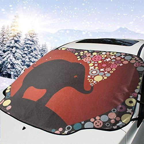 Mattrey - Parasol para Parabrisas de Coche con diseño de Elefante, Negro, Talla única