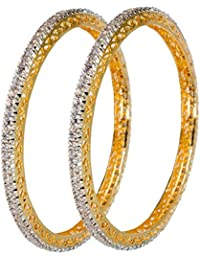 DeAaaStyle Fashion Gold Plated American Diamond Bangles For Women And Girls Size 2.8