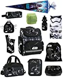 Familando Star Wars Schulranzen-Set 17tlg. mit großer Doppel-Federmappe gefüllt 48-tlg., Sporttasche, Schultüte 85 cm und Regenschutz