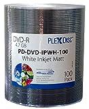 PlexDisc - 100 DVD-R PlexDisc, 4,7 GB, Color Blanco, Imprimibles Con Tinta De Inyección